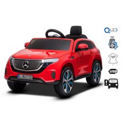 Elektrické autíčko Mercedes-Benz EQC, 12V, 2,4 GHz dialkové ovládanie, USB / SD Vstup, odpruženie, 12V/7Ah batéria, LED Svetlá mäkké EVA kolesá, 2 X MOTOR, červené, ORIGINÁL licencia