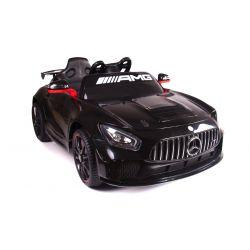 Zánovné elektrické autíčko Mercedes-Benz GT4, 12V, 2,4 GHz dialkové ovládanie, odpruženie, otváravé dvere, posilňovač riadenia, mäkké EVA kolesá, 2 X MOTOR, čierne, ORGINAL licence