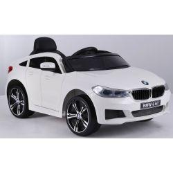 Elektrické autíčko BMW 6GT –  biele, jedno sedadlo, Batéria 2 x 6V/4Ah, 2,4 GHz DO, 2XMOTOR, USB vstup, ORGINAL licencia