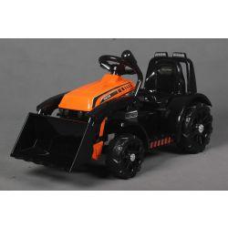 Elektrický Traktor FARMER s naberačkou, oranžový, Pohon zadných kolies, 12V batéria, Plastové kolesá, široké sedadlo, 2,4 GHz Diaľkový ovládač, Jednomiestne, MP3 prehrávač, LED Svetlá