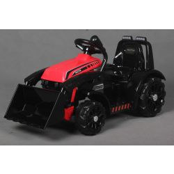 Elektrický Traktor FARMER s naberačkou, červený, Pohon zadných kolies, 12V batéria, Plastové kolesá, široké sedadlo, 2,4 GHz Diaľkový ovládač, Jednomiestne, MP3 prehrávač, LED Svetlá