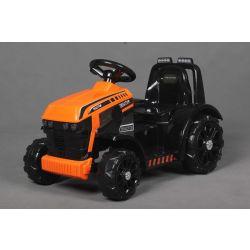 Elektrický Traktor FARMER, oranžový, Pohon zadných kolies, 12V batéria, Plastové kolesá, široké sedadlo, 2,4 GHz Diaľkový ovládač, Jednomiestne, MP3 prehrávač, LED Svetlá