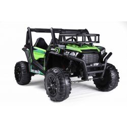 Elektrické autíčko UTV 24V, zelené, dvojmiestné, 2 x 200 W Motor, EVA kolesá, odpružené nápravy, ektrická brzda, čalúnené sedadlo, 2,4 GHz DO, LED Svetlá, USB, SD karta
