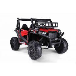 Elektrické autíčko UTV 24V, červené, dvojmiestné, 2 x 200 W Motor, EVA kolesá, odpružené nápravy, ektrická brzda, čalúnené sedadlo, 2,4 GHz DO, LED Svetlá, USB, SD karta