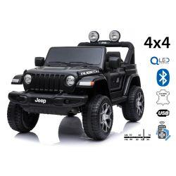 Elektrické autíčko JEEP Wrangler, Jednomiestne, čierne, Kožené sedadlá, Rádio s Bluetooth prehrávačom, SD/USB vstup, Pohon 4x4, 12V10Ah Batéria, EVA kolesá, Odpružené nápravy, 2,4 GHz Dialkové Ovládanie