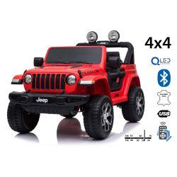 Zánovné elektrické autíčko JEEP Wrangler, Dvojmiestne, červené, Kožené sedadlá, Rádio s Bluetooth prehrávačom, SD/USB vstup, Pohon 4x4, 12V10Ah Batéria, EVA kolesá, Odpružené nápravy, 2,4 GHz Dialkové Ovládanie