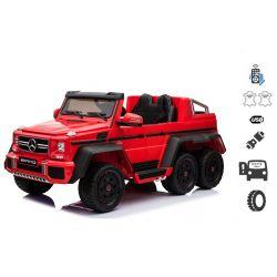 Elektrické autíčko Mercedes-Benz G63 6X6, červené, MP3 Prehrávač, 6 Kolies, Podsvietené kolesá, Pohon 4x4, 12V14AH, Prenostné batérie, EVA kolesá, Čalúnené sedadlo, 2,4 GHz DO, 4 X MOTOR, Dvojmiestne, Dve pedálové tlačidlá
