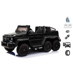 Elektrické autíčko Mercedes-Benz G63 6X6, čierne, MP3 Prehrávač, 6 Kolies, Podsvietené kolesá, Pohon 4x4, 12V14AH, Prenostné batérie, GUMENÉ kolesá, Čalúnené sedadlo, 2,4 GHz DO, 4 X MOTOR, Dvojmiestne, Dve pedálové tlačidlá