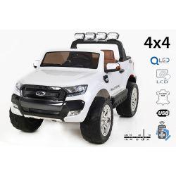 Elektrické autíčko Ford Ranger Wildtrak 4X4 LCD Luxury, LCD obrazovka, Pohon 4x4, 2 x 12V, EVA kolesá, čalúnené sedadlo, 2,4 GHz DO, kľúč, 4 X MOTOR, Dvojmiestne, Biele, Bluetooth, USB, SD karta, ORGINAL licencia