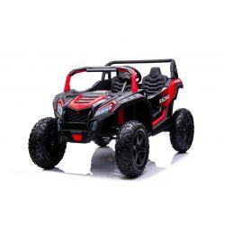 Elektrické autíčko UTV XXL 24V, červené, dvojmiestne, Výkonný motor s diferenciálem, Nafukovacie gumené kolesá, odpružené zadné nápravy, kotúčová brzda, čalúnené sedadlo, nastaviteľný volant, bluetooth, MP3 prehrávač so vstupom USB/SD