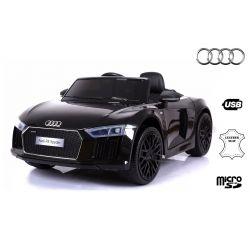 Zánovné elektrické autíčko Audi R8 Spyder, 12V, 2,4 GHz dialkové ovládanie, otváravé dvere, EVA kolesá, kožené sedadlo, 2 X MOTOR, čierne, ORGINAL licencia