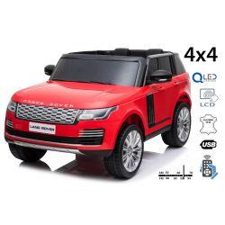 Elektrické autíčko Range Rover, Dvojmiestne, červené, Kožené sedadlá, LCD Displej so vstupom USB, Pohon 4x4, 2x 12V7AH, EVA kolesá, Odpružené nápravy, Kľúčové trojpolohové štartovanie, 2,4 GHz Bluetooth Dialkový Ovládač