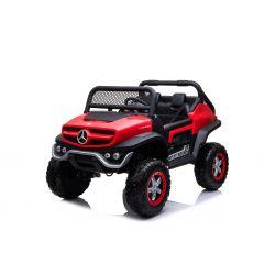 Elektrické autíčko Mercedes Unimog červený, Pohon 4x4, 12V/14Ah, EVA kolesá, široké dvojmiestne sedadlo,  2,4 GHz Dialkový Ovládač, 4 X MOTOR, Dvojmiestne, USB, Bluetooth