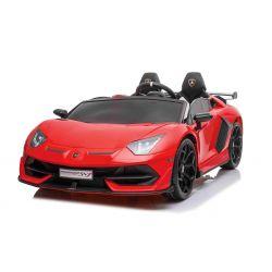 Elektrické autíčko Lamborghini Aventador 12V Dvojmiestne, červené, 2,4 GHz dialkové ovládanie, USB / SD Vstup, odpruženie, vertikálne otváravé dvere, mäkké EVA kolesá, 2 X MOTOR, ORIGINAL licencia
