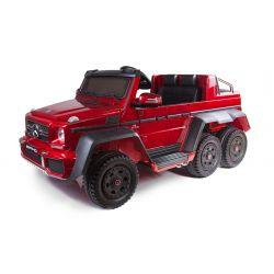 Zánovné elektrické autíčko Mercedes-Benz G63 6X6, červené Lakované, LCD obrazovka, 6 Kolies, Podsvietené kolesá, Pohon 4x4, 12V14AH, Prenostné batérie, GUMENÉ kolesá, Čalúnené sedadlo, 2,4 GHz DO, kľúč, 4 X MOTOR, Dvojmiestne, Posilňovač riadenia, Dve ped