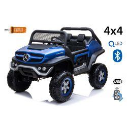 Elektrické autíčko Mercedes Unimog modrý lakovaný, Pohon 4x4, 12V/14Ah, EVA kolesá, široké dvojmiestne sedadlo,  2,4 GHz Dialkový Ovládač, 4 X MOTOR, Dvojmiestne, USB, Bluetooth