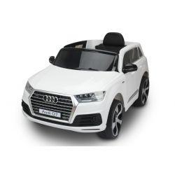 Zánovné elektrické autíčko Audi Q7, Biela, EVA kolesá, Jednomiestne sedadlo, 12V, 2,4 GHz DO, 2XMOTOR, USB, SD karta, ORGINAL licencia