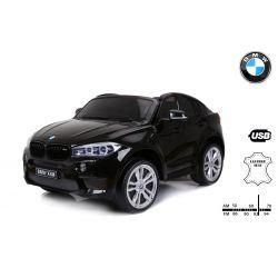 Zánovné Elektrické autíčko BMW X6 M, 2 miestne, 2 x 120 W motor, 12V, elektrická brzda, 2,4 GHz dialkové ovládanie, otváravé dvere, EVA kolesá, kožené sedadlo, 2 X MOTOR, čierne, ORGINAL licencia