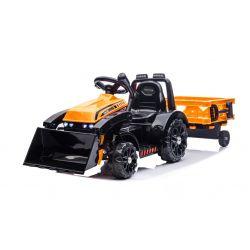 Elektrický Traktor FARMER s naberačkou a vlečkou, oranžový, Pohon zadných kolies, 12V batéria, Plastové kolesá, široké sedadlo, 2,4 GHz Diaľkový ovládač, Jednomiestne, MP3 prehrávač, LED Svetlá