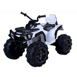 Elektrická štvorkolka HERO 12V, biele, mäkké kolesá, 2,4 GHz DIALKOVÉ OVLÁDANIE, kožená sedanka, odpružené, 12V7Ah batéria