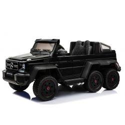 Elektrické autíčko Mercedes-Benz G63 6X6, čierné Lakované, LCD obrazovka, 6 Kolies, Podsvietené kolesá, Pohon 4x4, 12V14AH, Prenostné batérie, GUMENÉ kolesá, Čalúnené sedadlo, 2,4 GHz DO, 4 X MOTOR, Dvojmiestne, Dve pedálové tlačidlá