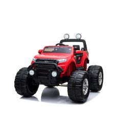 Elektrické autíčko Ford Ranger Monster Truck 4X4, červené, Dialkový ovládač 2.4Ghz, Plynulý rozbeh, USB/Radio/SD/MP3 vstup s Bluetooth pripojením, Ukazovatel kapacity batérie, Obrovské EVA kolesá, Odpružené, LED svetlá, prenosná batéria