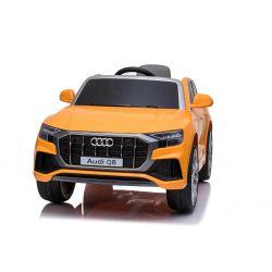 Elektrické autíčko Audi Q8, 12V, 2,4 GHz dialkové ovládanie, USB / SD Vstup, LED svetlá, 12V batéria, mäkké EVA kolesá, 2 X MOTOR, oranžové, ORIGINÁL licencia