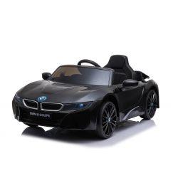 Elektrické autíčko BMW i8, 12V, 2,4 GHz dialkové ovládanie, USB / SD Vstup, odpruženie, 12V batéria, mäkké EVA kolesá, 2 X MOTOR, čierne, ORIGINAL licencia