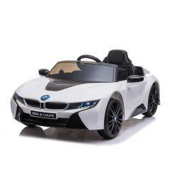 Elektrické autíčko BMW i8, 12V, 2,4 GHz dialkové ovládanie, USB / SD Vstup, odpruženie, 12V batéria, mäkké EVA kolesá, 2 X MOTOR, biele, ORIGINAL licencia