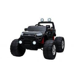 Elektrické autíčko Ford Ranger Monster Truck 4X4, čierné, Dialkový ovládač 2.4Ghz, Plynulý rozbeh, USB/Radio/SD/MP3 vstup s Bluetooth pripojením, Ukazovatel kapacity batérie, Obrovské EVA kolesá, Odpružené, LED svetlá, prenosná batéria