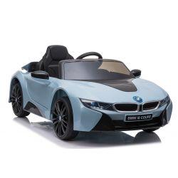 Elektrické autíčko BMW i8, 12V, 2,4 GHz dialkové ovládanie, USB / SD Vstup, odpruženie, 12V batéria, mäkké EVA kolesá, 2 X MOTOR, modré, ORIGINAL licencia