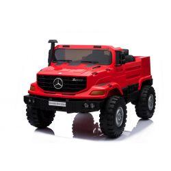 Elektrické autíčko Mercedes-Benz Zetros 24V, 2 x 120 W Motor, EVA kolesá, elektrická brzda, kožené sedadlá, Odpružené nápravy, Dvojmiestne, červené, FM rádio, USB, SD vstup, ORGINAL licencia