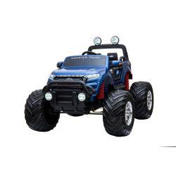 Elektrické autíčko Ford Ranger Monster Truck 4X4, Modré, Lakované, Dialkový ovládač 2.4Ghz, Plynulí rozbeh, USB/Radio/SD/MP3 vstup s Bluetooth pripojením, Ukazovatel kapacity batérie, Obrovské EVA kolesá, Odpružené, LED svetlá, prenosná batéria