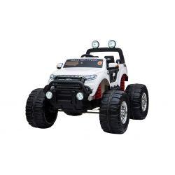 Elektrické autíčko Ford Ranger Monster Truck 4X4, biele, Dialkový ovládač 2.4Ghz, Plynulý rozbeh, USB/Radio/SD/MP3 vstup s Bluetooth pripojením, Ukazovatel kapacity batérie, Obrovské EVA kolesá, Odpružené, LED svetlá, prenostná batéria