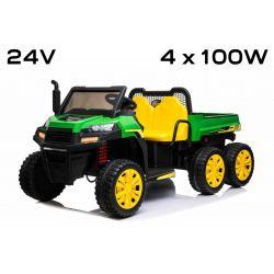 Licencované Farmárske elektrické autíčko RIDER 6X6 24V s pohonom štyroch kolies 4X 100W, 24V/7ah batéria, EVA kolesá, široké dvojmiestne sedadlo, Odpružené nápravy, 2,4 GHz Diaľkový ovládač, Dvojmiestne, MP3 prehrávač so vstupom USB/SD, Bluetooth