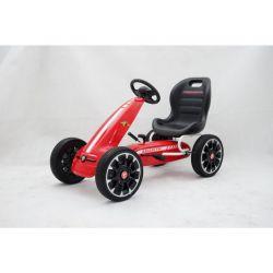 ABARTH Gokart na pedály - Šľapacia motokára s voľnobehom, červená, Eva kolesá, ORGINAL licencia