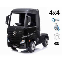 Elektrické autíčko Mercedes-Benz Actros, Jednomiestne, čierne, Kožené sedadlo, MP3 Prehrávač s USB vstupom, Pohon 4x4, 2x 12V7Ah Batéria, EVA kolesá, Odpružené nápravy, 2,4 GHz Dialkové Ovládanie