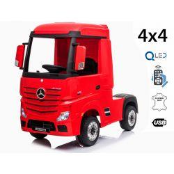 Elektrické autíčko Mercedes-Benz Actros, Jednomiestne, červené, Kožené sedadlo, Mp3 prehrávač s USB vstupom, Pohon 4x4, 2x 12V7Ah Batéria, EVA kolesá, Odpružené nápravy, 2,4 GHz Dialkové Ovládanie