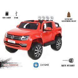 Elektrické autíčko Volkswagen Amarok, Pohon 4x4, Červené, 2x12V, EVA kolesá, široké čalúnené sedadlo, 2,4 GHz DO, 4 X MOTOR, USB