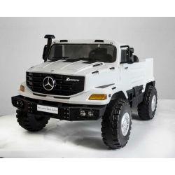 Elektrické autíčko Mercedes-Benz Zetros 24V, 2 x 120 W Motor, EVA kolesá, elektrická brzda, kožené sedadlá, Odpružené nápravy, Dvojmiestne, biele, FM rádio, USB, SD vstup, ORGINAL licencia