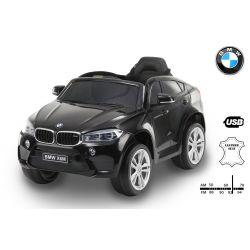 Elektrické autíčko BMW X6M NEW – JEDNOMIESTNE, čierne, EVA kolesá, kožené sedadlo, 12V, 2,4 GHz DO, 2XMOTOR, USB, SD karta, ORGINAL licencia