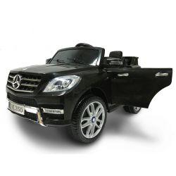 Elektrické autíčko Mercedes-Benz ML350, čalúnené sedadlo, odpružené nápravy, USB/SD Vstup, EVA kolesá, Batéria 12V, 2 X MOTOR, Čierne, ORGINAL licencia