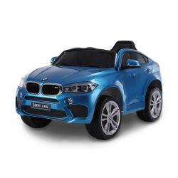 Elektrické autíčko BMW X6M NEW – JEDNOMIESTNE, modré lakované, EVA kolesá, kožené sedadlo, 12V, 2,4 GHz DO, 2XMOTOR, USB, SD karta, ORGINAL licencia