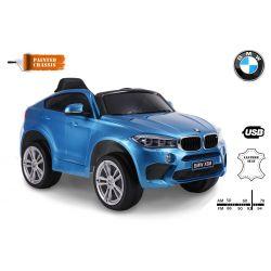 Zánovné elektrické autíčko BMW X6M NEW – JEDNOMIESTNE, modré lakované, EVA kolesá, kožené sedadlo, 12V, 2,4 GHz DO, 2XMOTOR, USB, SD karta, ORGINAL licencia