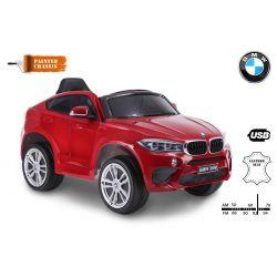Elektrické autíčko BMW X6M NEW – JEDNOMIESTNE, červené lakované, EVA kolesá, kožené sedadlo, 12V, 2,4 GHz DO, 2XMOTOR, USB, SD karta, ORGINAL licencia