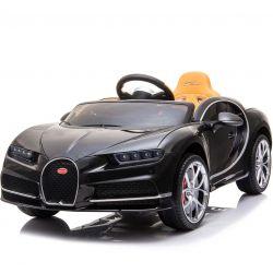 Elektrické autíčko Bugatti Chiron, 12V, 2,4 GHz dialkové ovládanie, otváravé dvere, EVA kolesá, kožené sedadlo, 2 X MOTOR, čierne, ORGINAL licencia