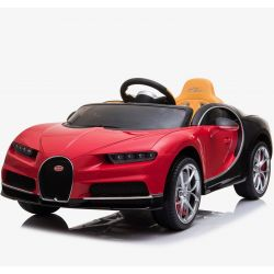 Elektrické autíčko Bugatti Chiron, 12V, 2,4 GHz dialkové ovládanie, otváravé dvere, EVA kolesá, kožené sedadlo, 2 X MOTOR, červené, ORGINAL licencia