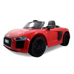 Elektrické autíčko Audi R8 Spyder, 12V, 2,4 GHz dialkové ovládanie, otváravé dvere, EVA kolesá, kožené sedadlo, 2 X MOTOR, červené, ORGINAL licencia