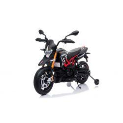 Elektrická Motorka APRILIA DORSODURO 900, Licencované, 12V batéria, EVA mäkké kolesá, 2 x 18W motor, Odpruženie, kovový rám, kovová vidlica, pomocné kolieska, čierne