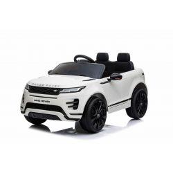 Elektrické autíčko Range Rover EVOQUE, Jednomiestne, biele, Kožené sedadlá, MP3 Prehrávač s prípojkou USB/SD, Pohon 4x4, Batéria 12V10AH, EVA kolesá, Odpružené nápravy, Kľúčové trojpolohové štartovanie, 2,4 GHz Bluetooth Dialkový Ovládač, Licencia